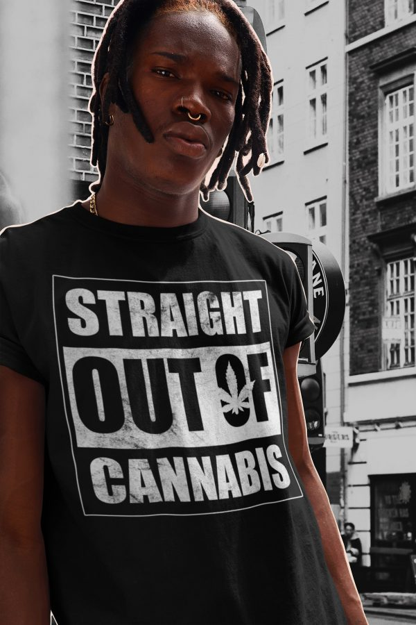 srtaight out of cannabis black shirt